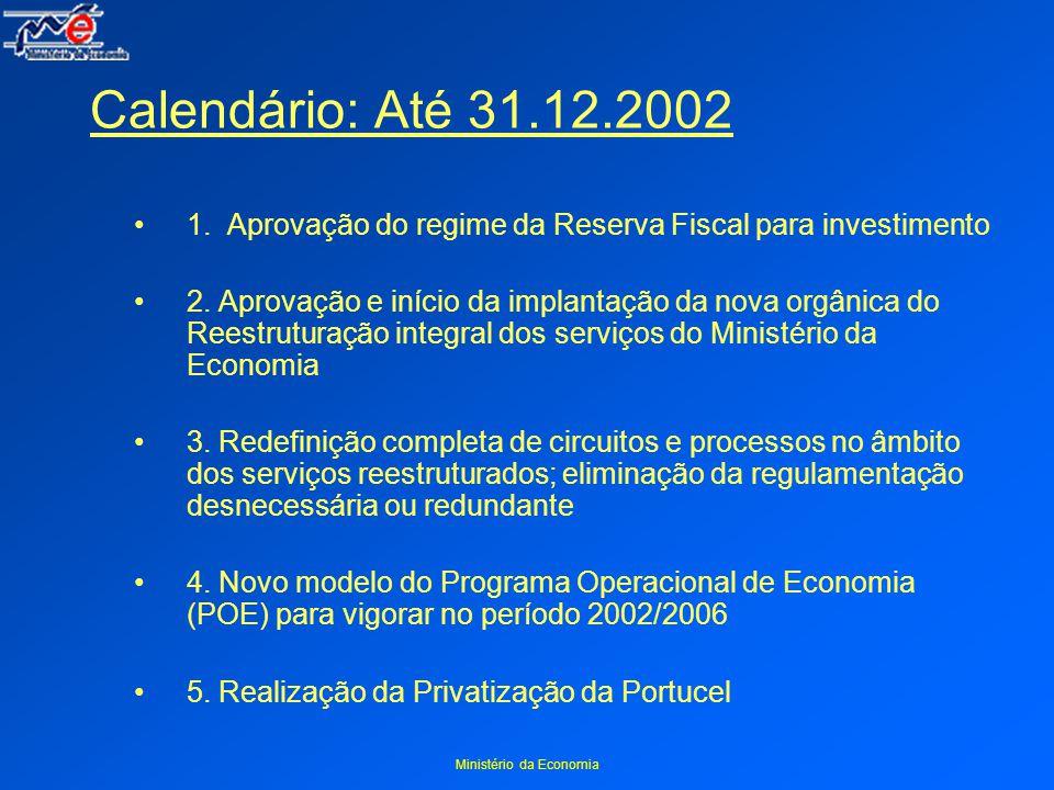 Ministério da Economia Calendário: Até 31.12.2002 1.