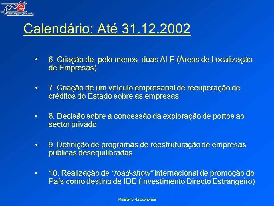 Ministério da Economia Calendário: Até 31.12.2002 6.