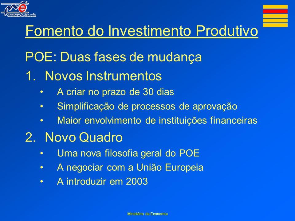 Ministério da Economia Fomento do Investimento Produtivo POE: Duas fases de mudança 1.Novos Instrumentos A criar no prazo de 30 dias Simplificação de processos de aprovação Maior envolvimento de instituições financeiras 2.Novo Quadro Uma nova filosofia geral do POE A negociar com a União Europeia A introduzir em 2003