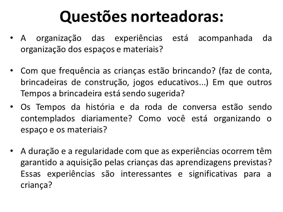 Questões norteadoras: A organização das experiências está acompanhada da organização dos espaços e materiais? Com que frequência as crianças estão bri