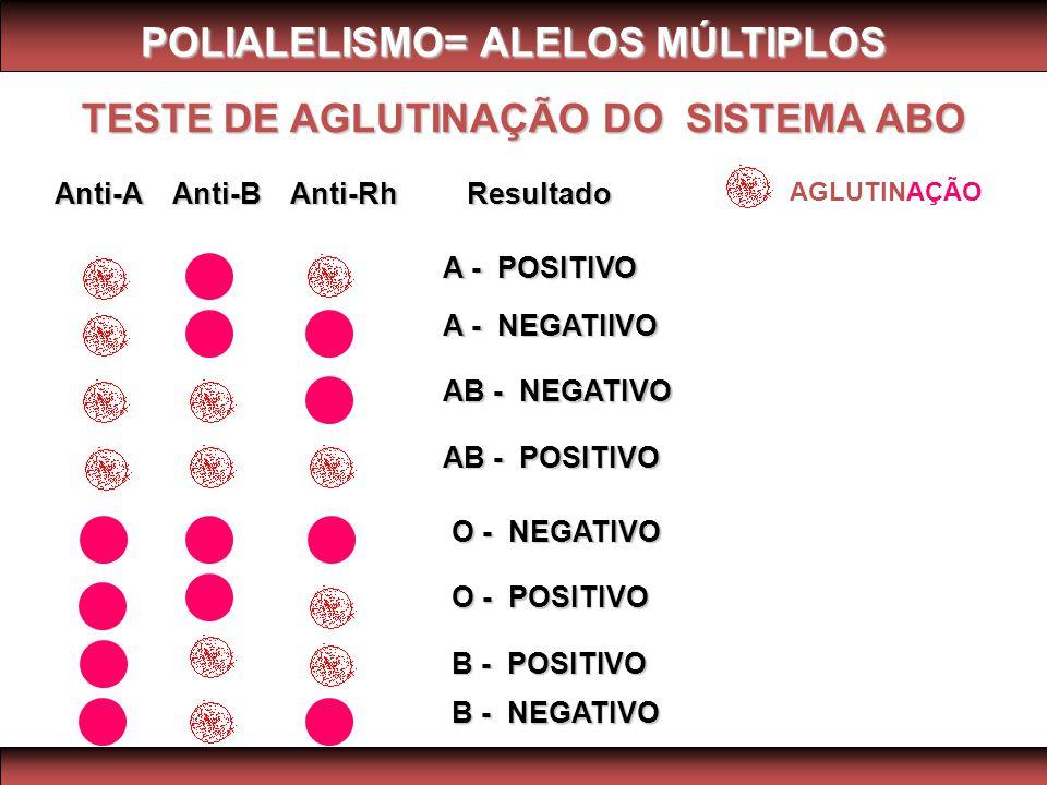 TESTE DE AGLUTINAÇÃO DO SISTEMA ABO Anti-A Anti-B Anti-Rh Resultado A - POSITIVO A - NEGATIIVO AB - NEGATIVO AB - POSITIVO O - NEGATIVO O - POSITIVO B