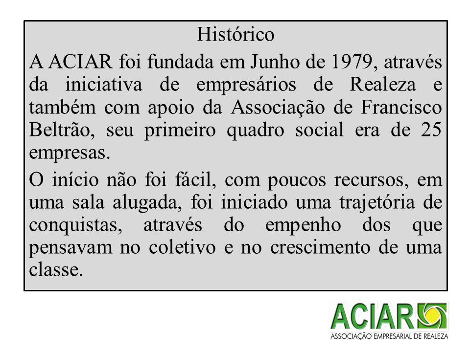 Histórico A ACIAR foi fundada em Junho de 1979, através da iniciativa de empresários de Realeza e também com apoio da Associação de Francisco Beltrão, seu primeiro quadro social era de 25 empresas.