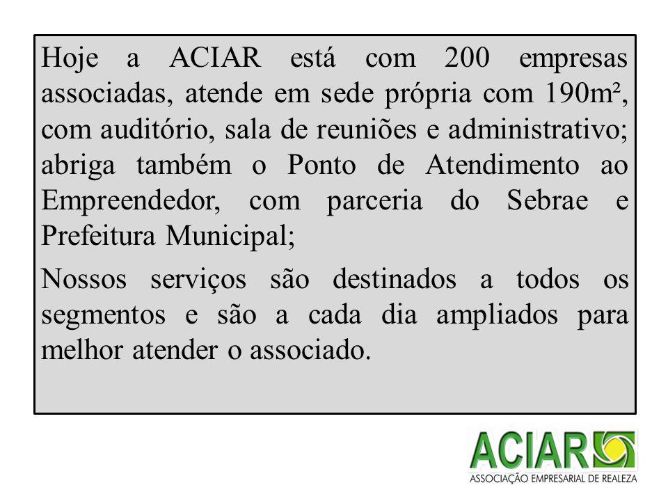 MISSÃO Prestar serviços de qualidade a classe empresarial, incentivando o associativismo e o desenvolvimento econômico do município de Realeza.