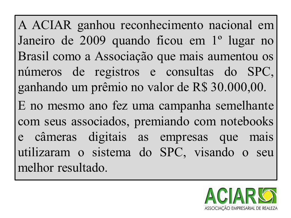A ACIAR ganhou reconhecimento nacional em Janeiro de 2009 quando ficou em 1º lugar no Brasil como a Associação que mais aumentou os números de registros e consultas do SPC, ganhando um prêmio no valor de R$ 30.000,00.