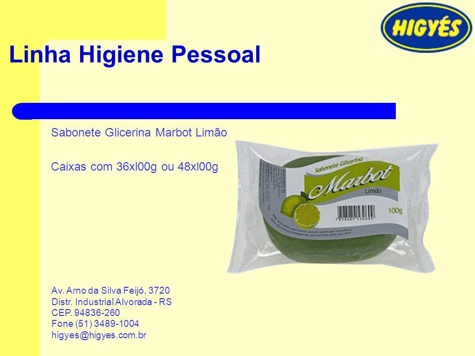 Linha Higiene Pessoal Sabonete Glicerina Marbot Limão Caixas com 36xl00g ou 48xl00g Av. Arno da Silva Feijó, 3720 Distr. Industrial Alvorada - RS CEP.