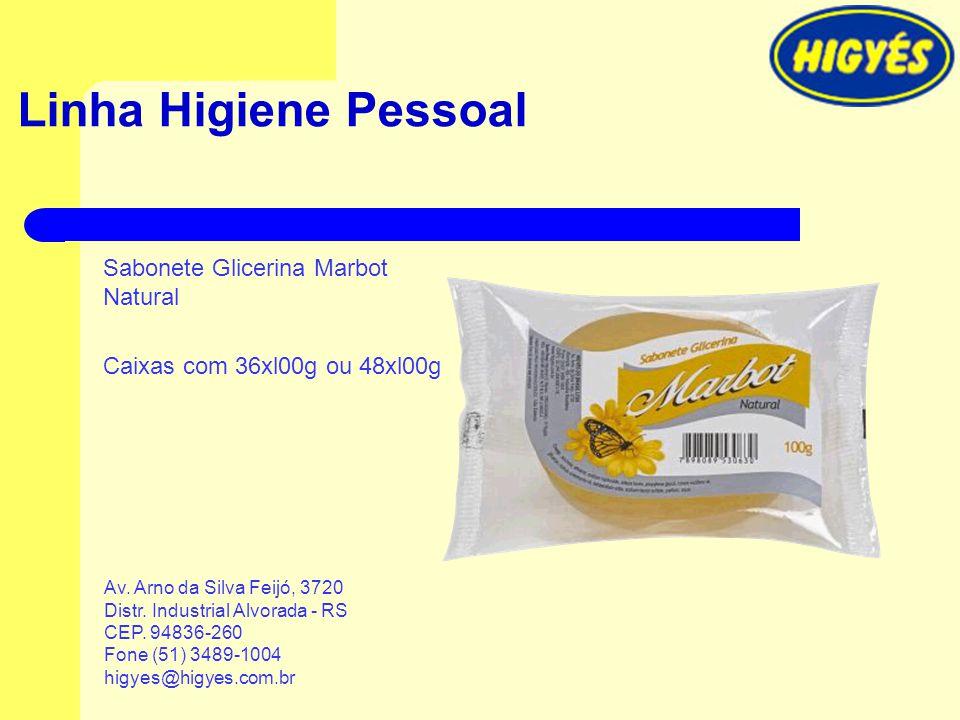 Linha Higiene Pessoal Sabonete Glicerina Marbot Natural Caixas com 36xl00g ou 48xl00g Av. Arno da Silva Feijó, 3720 Distr. Industrial Alvorada - RS CE