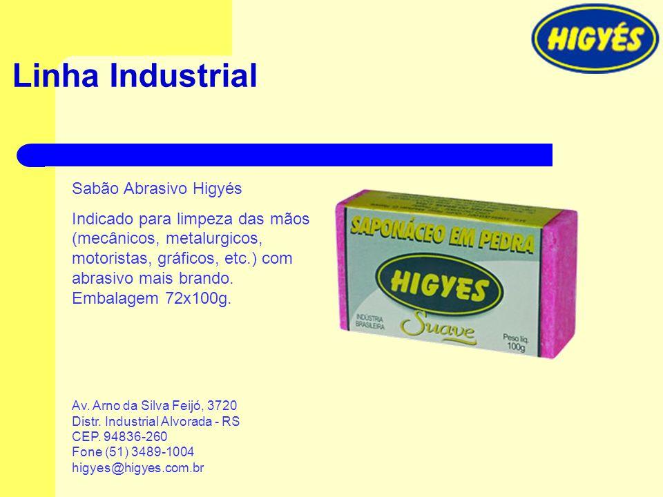 Linha Industrial Sabão Abrasivo Higyés Indicado para limpeza das mãos (mecânicos, metalurgicos, motoristas, gráficos, etc.) com abrasivo mais brando.