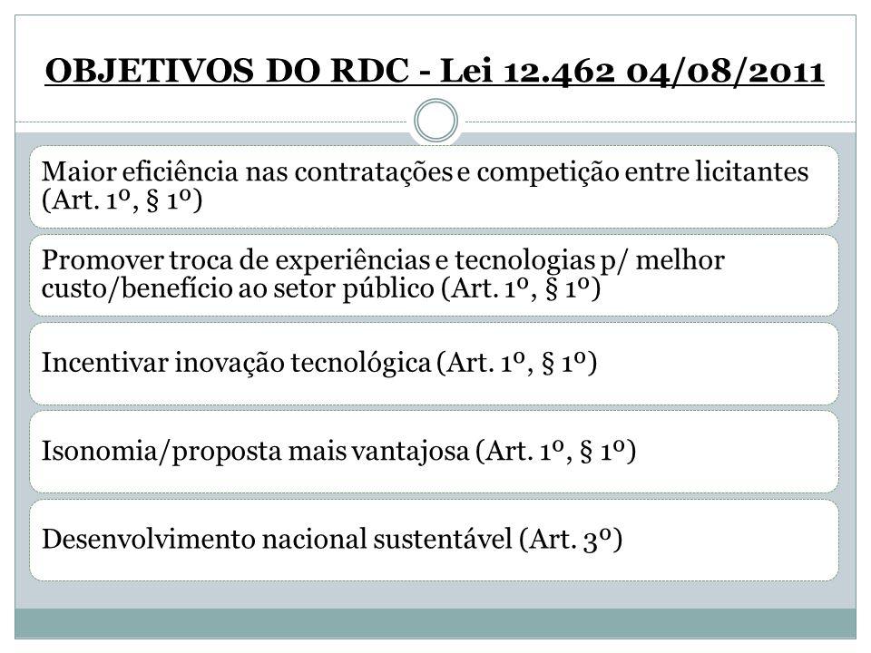 OBJETIVOS DO RDC - Lei 12.462 04/08/2011 Maior eficiência nas contratações e competição entre licitantes (Art. 1º, § 1º) Promover troca de experiência