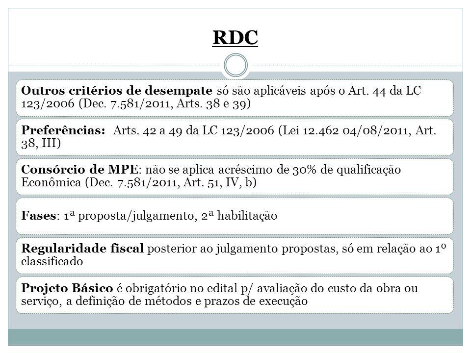 RDC Outros critérios de desempate só são aplicáveis após o Art. 44 da LC 123/2006 (Dec. 7.581/2011, Arts. 38 e 39) Preferências: Arts. 42 a 49 da LC 1