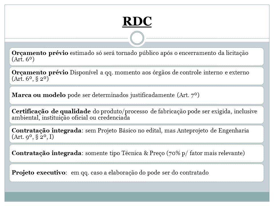 RDC Orçamento prévio estimado só será tornado público após o encerramento da licitação (Art. 6º) Orçamento prévio Disponível a qq. momento aos órgãos
