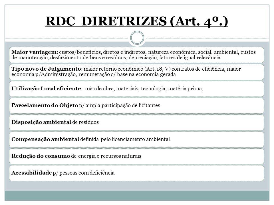 RDC DIRETRIZES (Art. 4º.) Maior vantagem: custos/benefícios, diretos e indiretos, natureza econômica, social, ambiental, custos de manutenção, desfazi