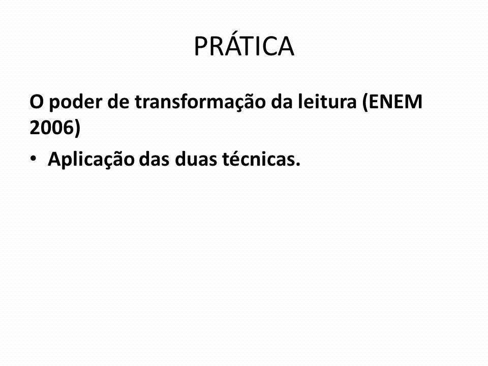 PRÁTICA O poder de transformação da leitura (ENEM 2006) Aplicação das duas técnicas.