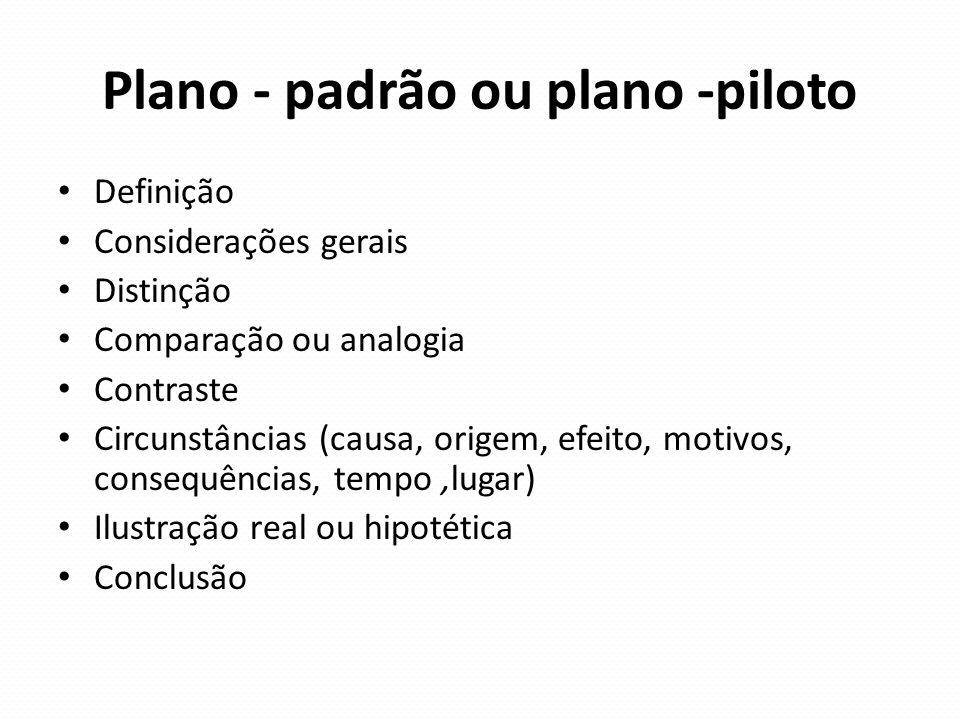 Plano - padrão ou plano -piloto Definição Considerações gerais Distinção Comparação ou analogia Contraste Circunstâncias (causa, origem, efeito, motiv