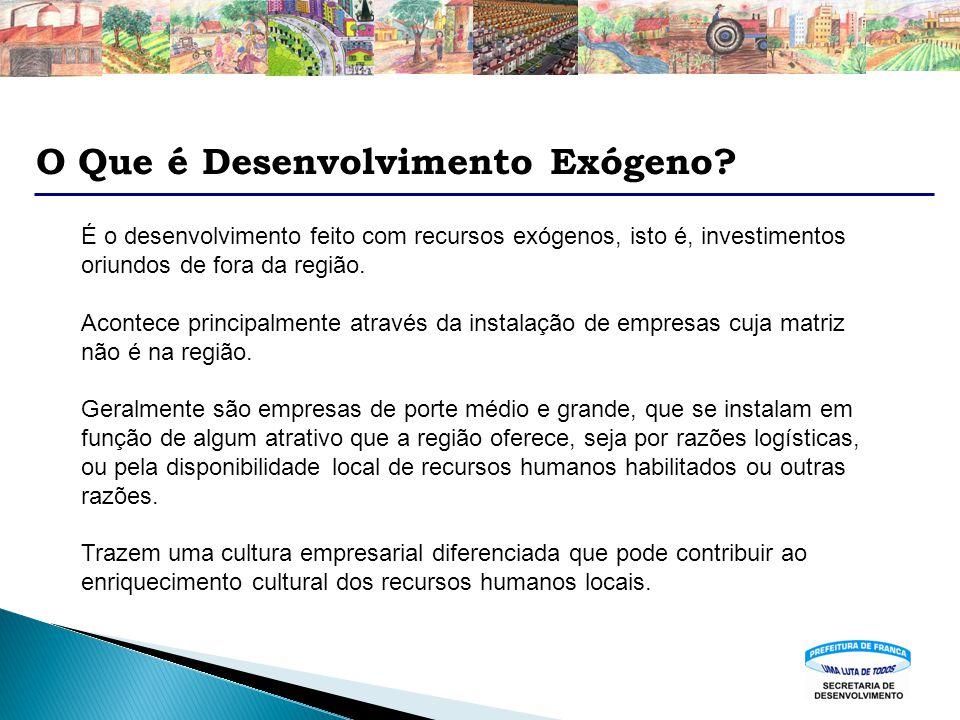 O Que é Desenvolvimento Exógeno? É o desenvolvimento feito com recursos exógenos, isto é, investimentos oriundos de fora da região. Acontece principal