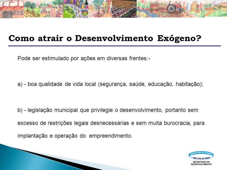 Como atrair o Desenvolvimento Exógeno? Pode ser estimulado por ações em diversas frentes:- a) - boa qualidade de vida local (segurança, saúde, educaçã