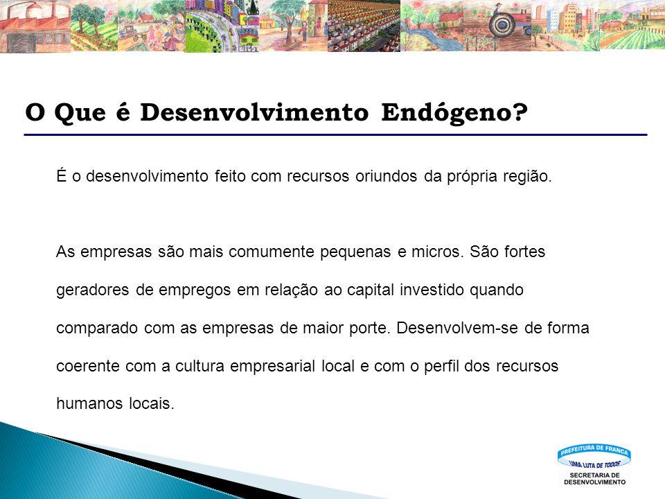 O Que é Desenvolvimento Endógeno? É o desenvolvimento feito com recursos oriundos da própria região. As empresas são mais comumente pequenas e micros.