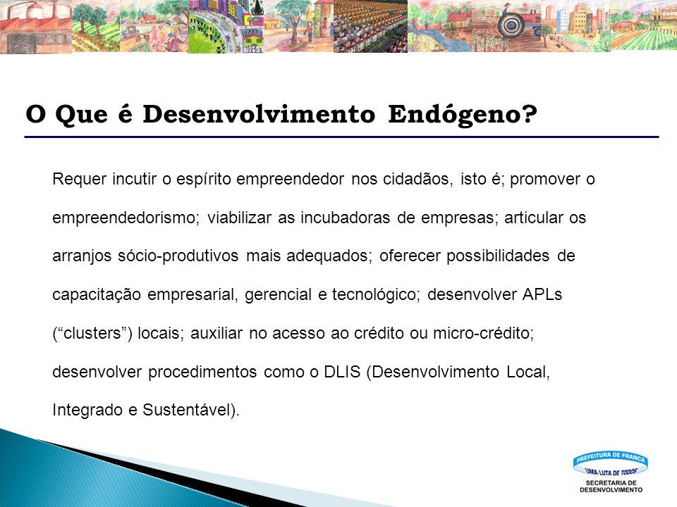 O Que é Desenvolvimento Endógeno? Requer incutir o espírito empreendedor nos cidadãos, isto é; promover o empreendedorismo; viabilizar as incubadoras
