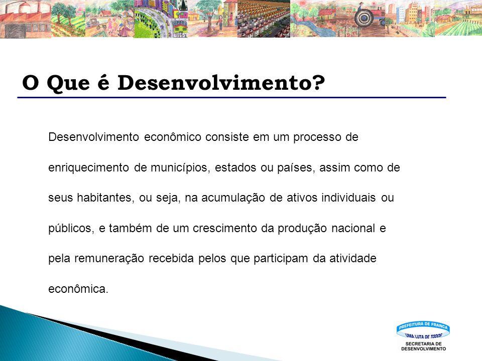 O Que é Desenvolvimento? Desenvolvimento econômico consiste em um processo de enriquecimento de municípios, estados ou países, assim como de seus habi