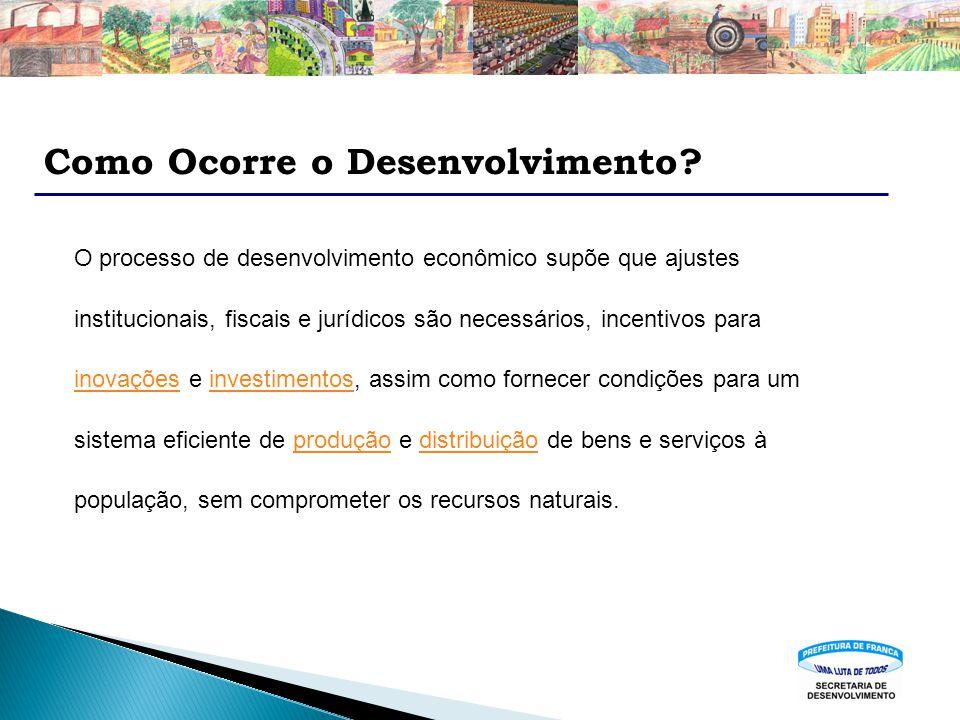 Como Ocorre o Desenvolvimento? O processo de desenvolvimento econômico supõe que ajustes institucionais, fiscais e jurídicos são necessários, incentiv