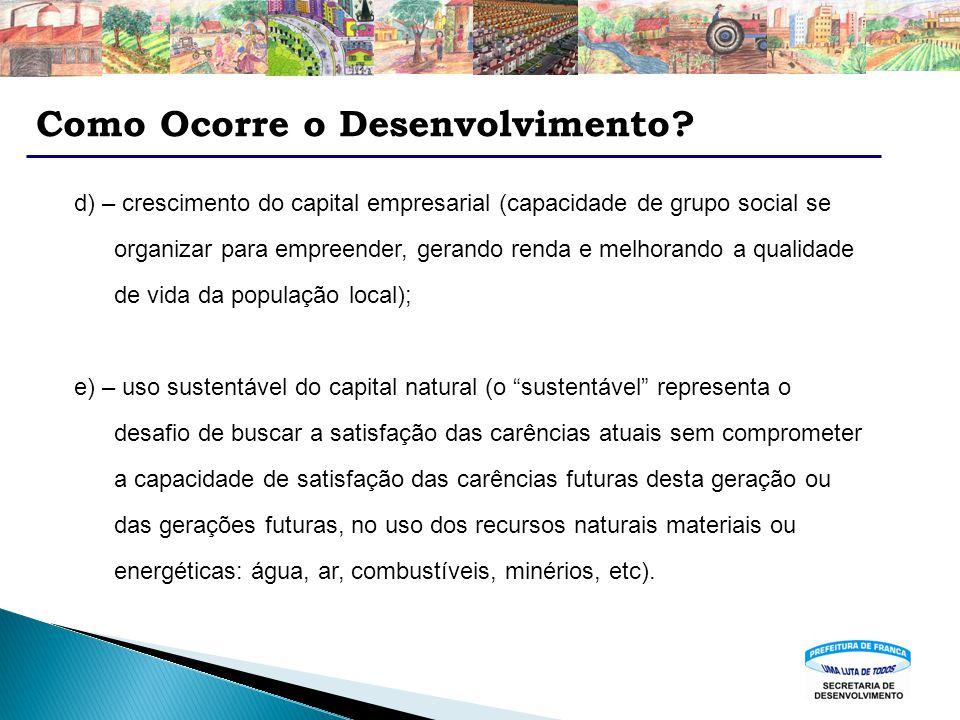 Como Ocorre o Desenvolvimento? d) – crescimento do capital empresarial (capacidade de grupo social se organizar para empreender, gerando renda e melho