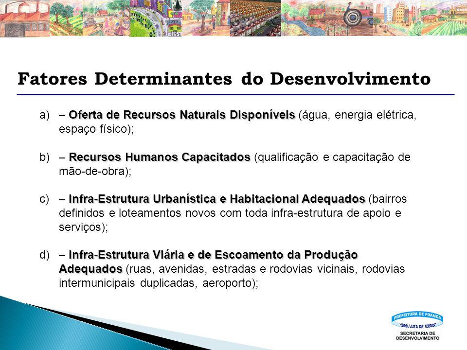 Fatores Determinantes do Desenvolvimento Oferta de Recursos Naturais Disponíveis a)– Oferta de Recursos Naturais Disponíveis (água, energia elétrica,