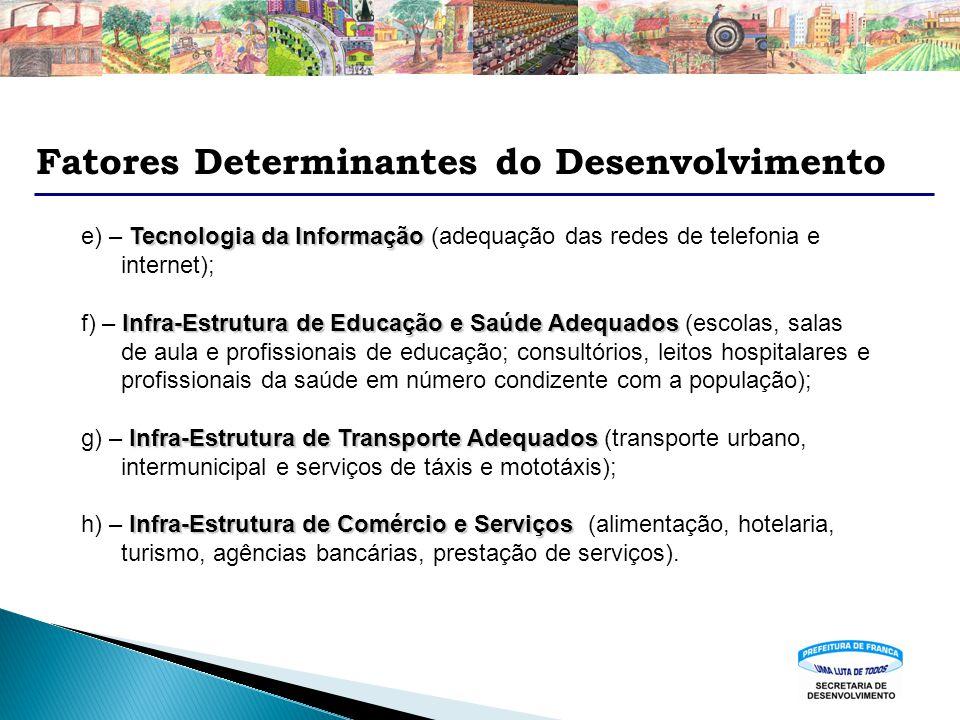 Fatores Determinantes do Desenvolvimento Tecnologia da Informação e) – Tecnologia da Informação (adequação das redes de telefonia e internet); Infra-E