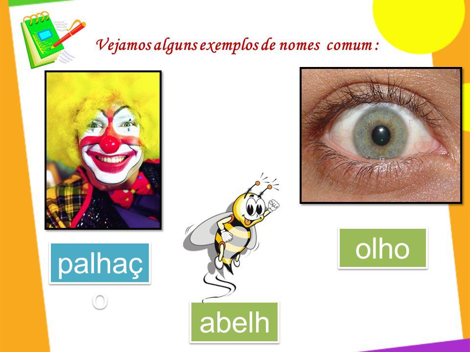 Vejamos alguns exemplos de nomes comum : palhaç o olho abelh a