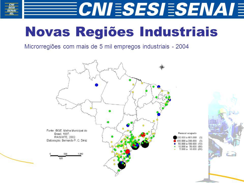 Novas Regiões Industriais Microrregiões com mais de 5 mil empregos industriais - 2004