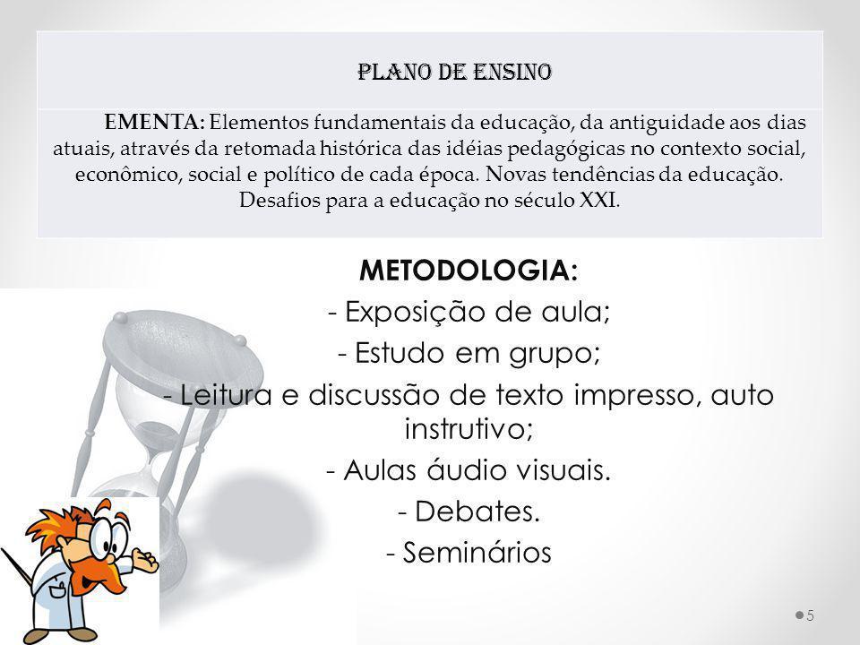 Plano de Ensino EMENTA: Elementos fundamentais da educação, da antiguidade aos dias atuais, através da retomada histórica das idéias pedagógicas no co