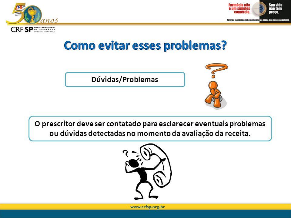 O prescritor deve ser contatado para esclarecer eventuais problemas ou dúvidas detectadas no momento da avaliação da receita. Dúvidas/Problemas
