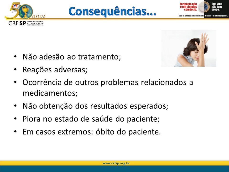 Não adesão ao tratamento; Reações adversas; Ocorrência de outros problemas relacionados a medicamentos; Não obtenção dos resultados esperados; Piora n