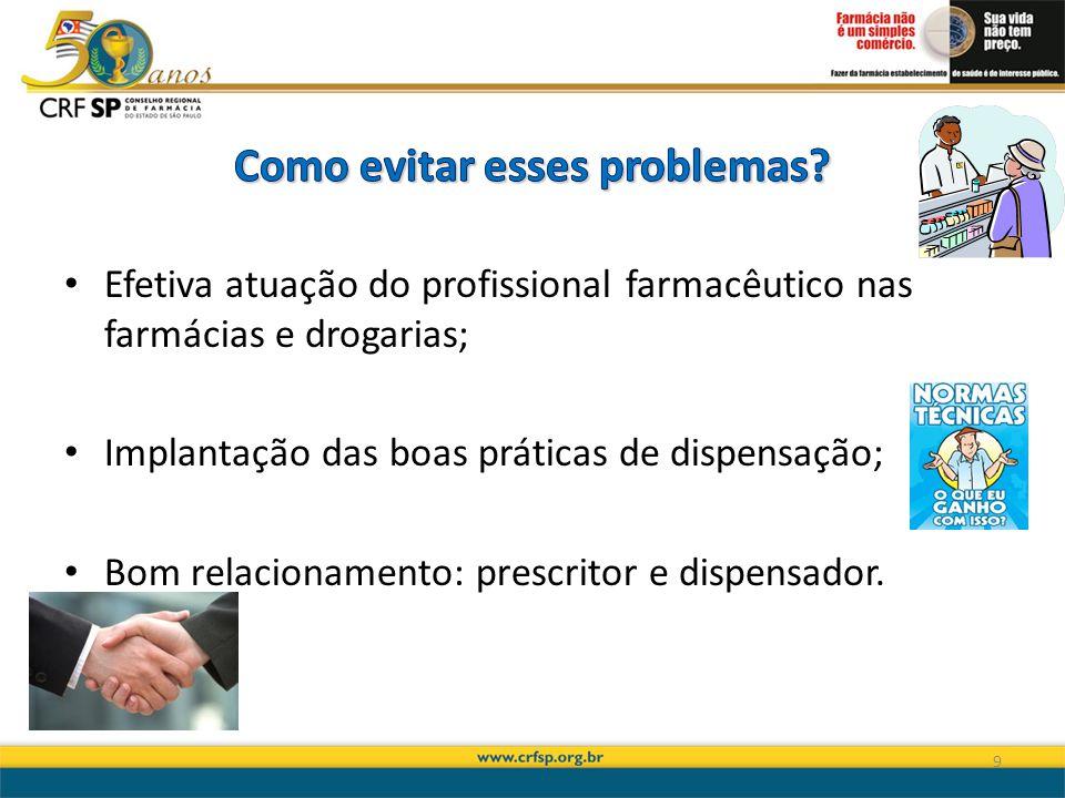 Efetiva atuação do profissional farmacêutico nas farmácias e drogarias; Implantação das boas práticas de dispensação; Bom relacionamento: prescritor e dispensador.