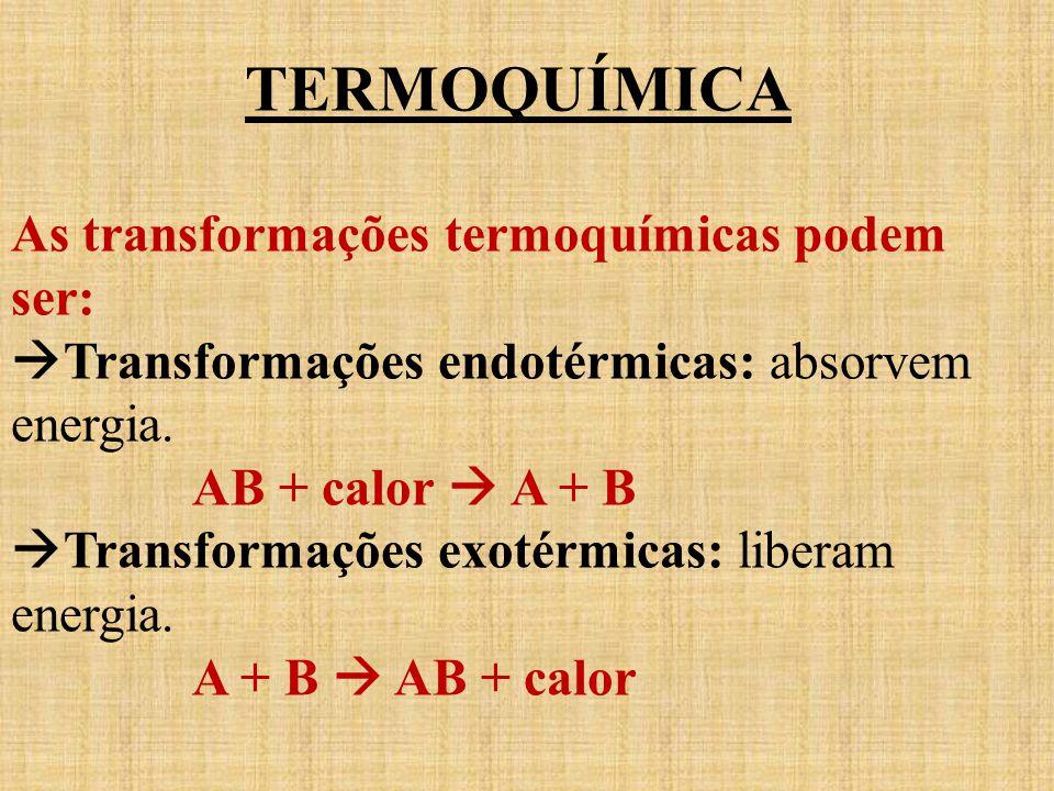 TERMOQUÍMICA As transformações termoquímicas podem ser: Transformações endotérmicas: absorvem energia. AB + calor A + B Transformações exotérmicas: li