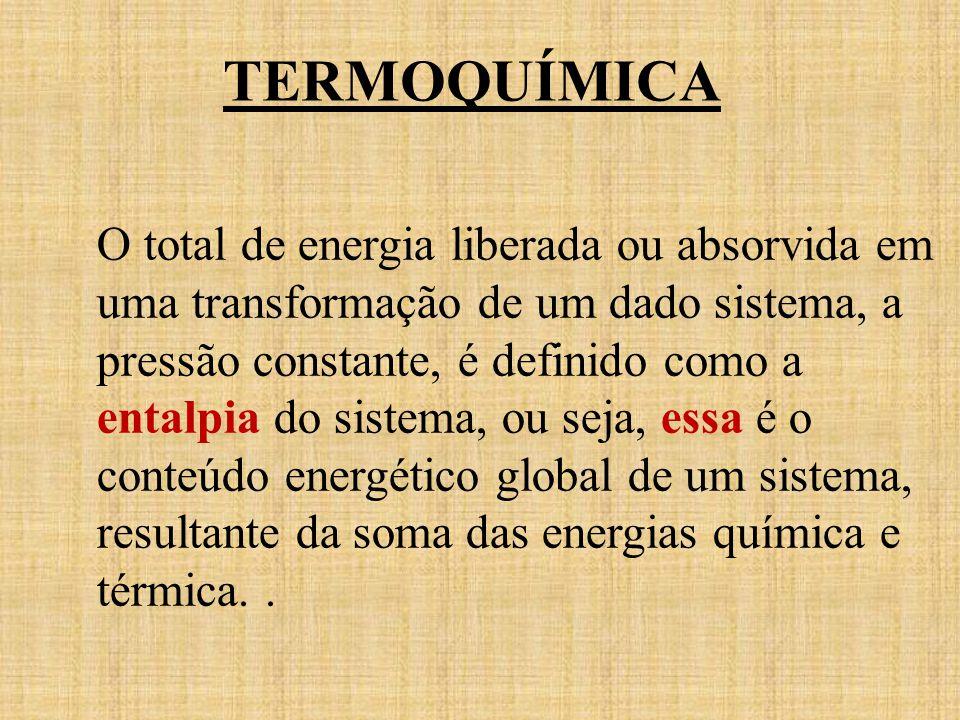 TERMOQUÍMICA O total de energia liberada ou absorvida em uma transformação de um dado sistema, a pressão constante, é definido como a entalpia do sist