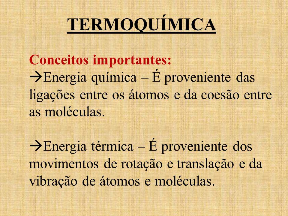 TERMOQUÍMICA Conceitos importantes: Energia química – É proveniente das ligações entre os átomos e da coesão entre as moléculas. Energia térmica – É p