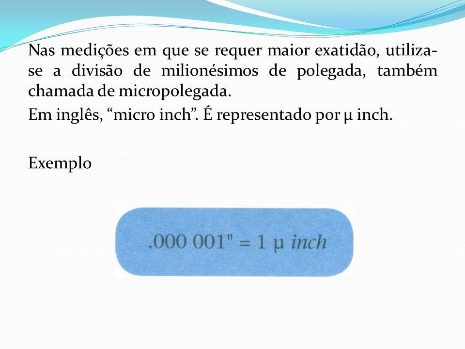 Nas medições em que se requer maior exatidão, utiliza- se a divisão de milionésimos de polegada, também chamada de micropolegada. Em inglês, micro inc