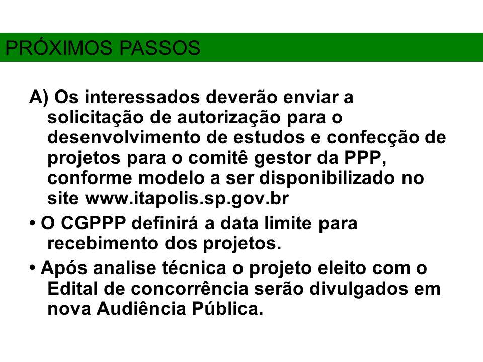 A) Os interessados deverão enviar a solicitação de autorização para o desenvolvimento de estudos e confecção de projetos para o comitê gestor da PPP, conforme modelo a ser disponibilizado no site www.itapolis.sp.gov.br O CGPPP definirá a data limite para recebimento dos projetos.