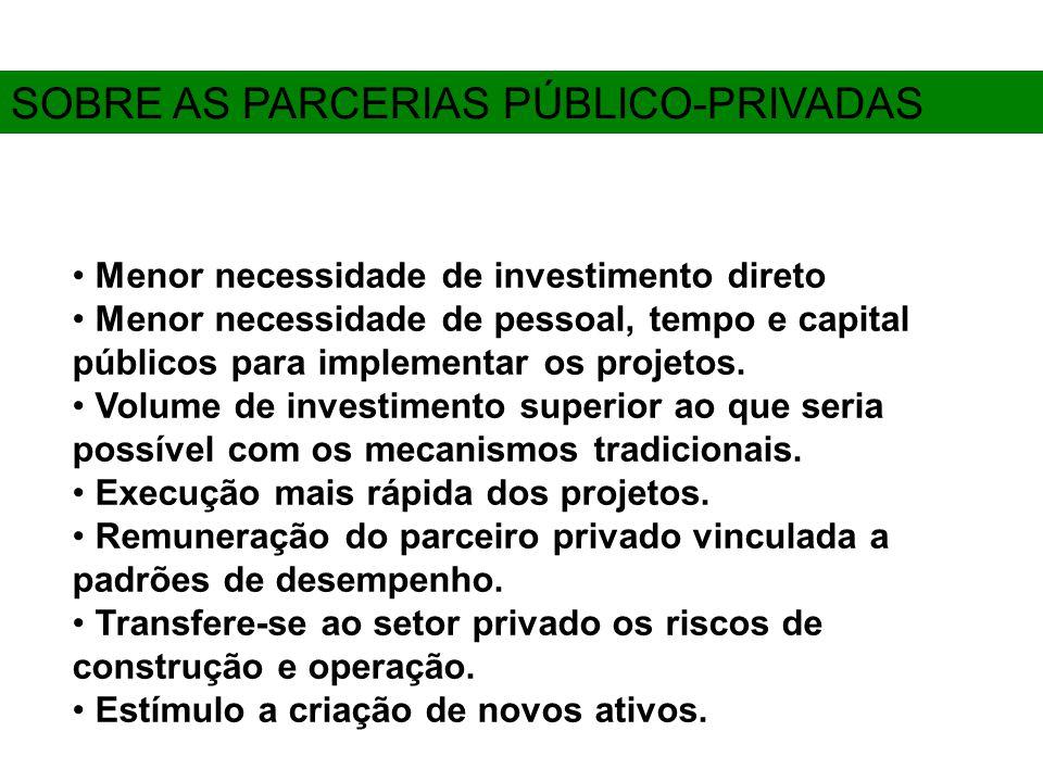 Menor necessidade de investimento direto Menor necessidade de pessoal, tempo e capital públicos para implementar os projetos.