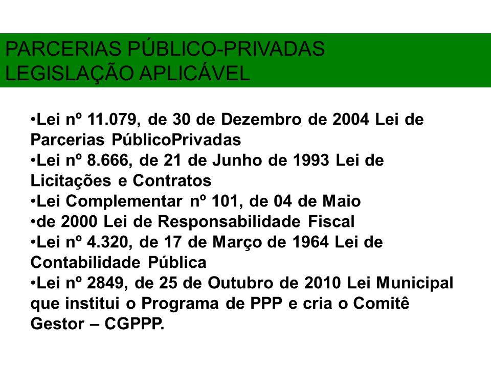 PARCERIAS PÚBLICO-PRIVADAS LEGISLAÇÃO APLICÁVEL Lei nº 11.079, de 30 de Dezembro de 2004 Lei de Parcerias PúblicoPrivadas Lei nº 8.666, de 21 de Junho de 1993 Lei de Licitações e Contratos Lei Complementar nº 101, de 04 de Maio de 2000 Lei de Responsabilidade Fiscal Lei nº 4.320, de 17 de Março de 1964 Lei de Contabilidade Pública Lei nº 2849, de 25 de Outubro de 2010 Lei Municipal que institui o Programa de PPP e cria o Comitê Gestor – CGPPP.