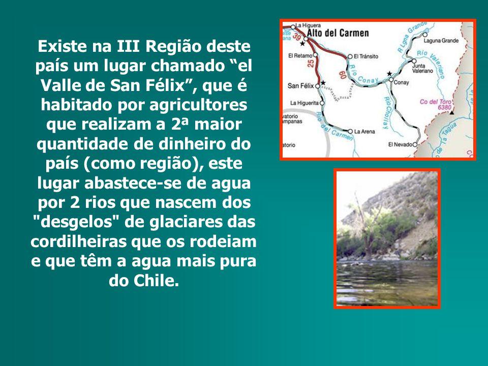 Existe na III Região deste país um lugar chamado el Valle de San Félix, que é habitado por agricultores que realizam a 2ª maior quantidade de dinheiro do país (como região), este lugar abastece-se de agua por 2 rios que nascem dos desgelos de glaciares das cordilheiras que os rodeiam e que têm a agua mais pura do Chile.