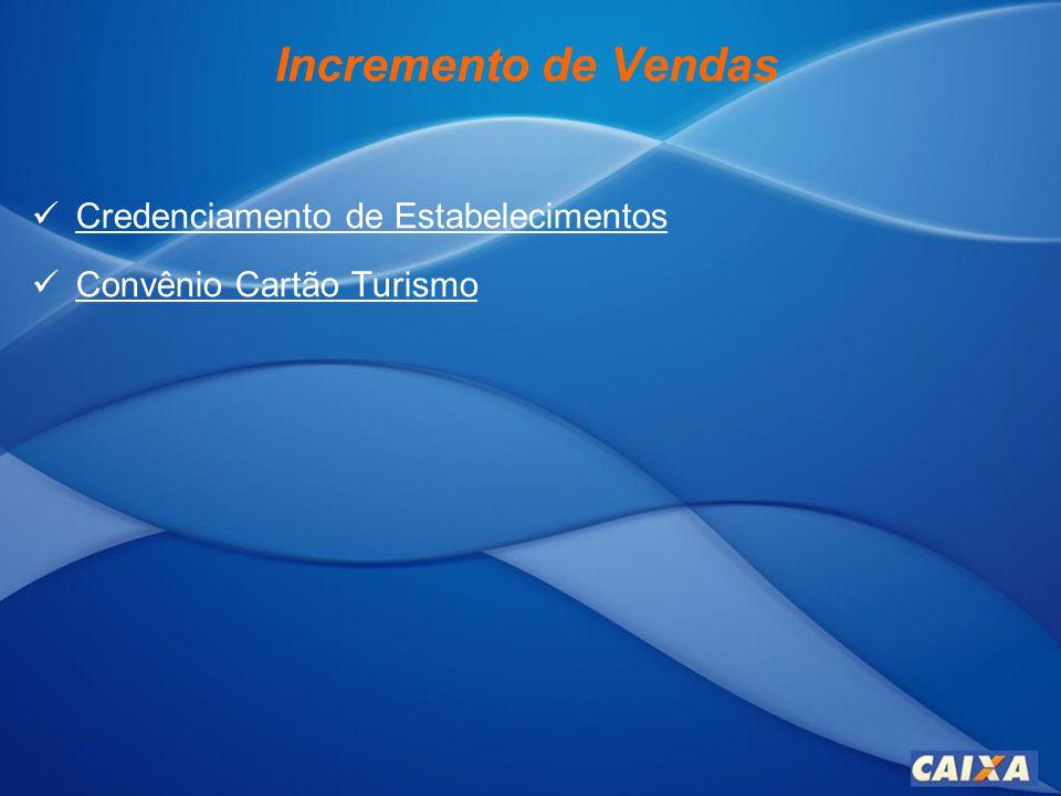 Incremento de Vendas Credenciamento de Estabelecimentos Credenciamento de Estabelecimentos Convênio Cartão Turismo Convênio Cartão Turismo