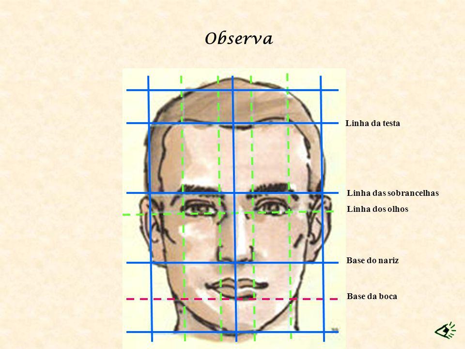 Base da boca Linha dos olhos Base do nariz Linha da testa Linha das sobrancelhas Observa