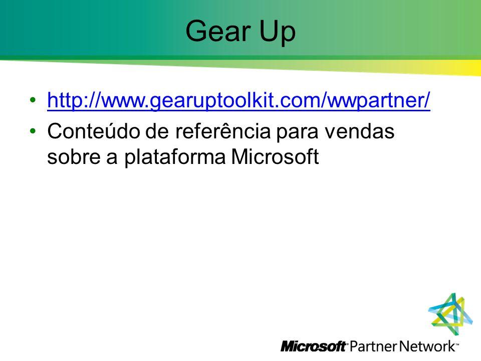 Gear Up http://www.gearuptoolkit.com/wwpartner/ Conteúdo de referência para vendas sobre a plataforma Microsoft