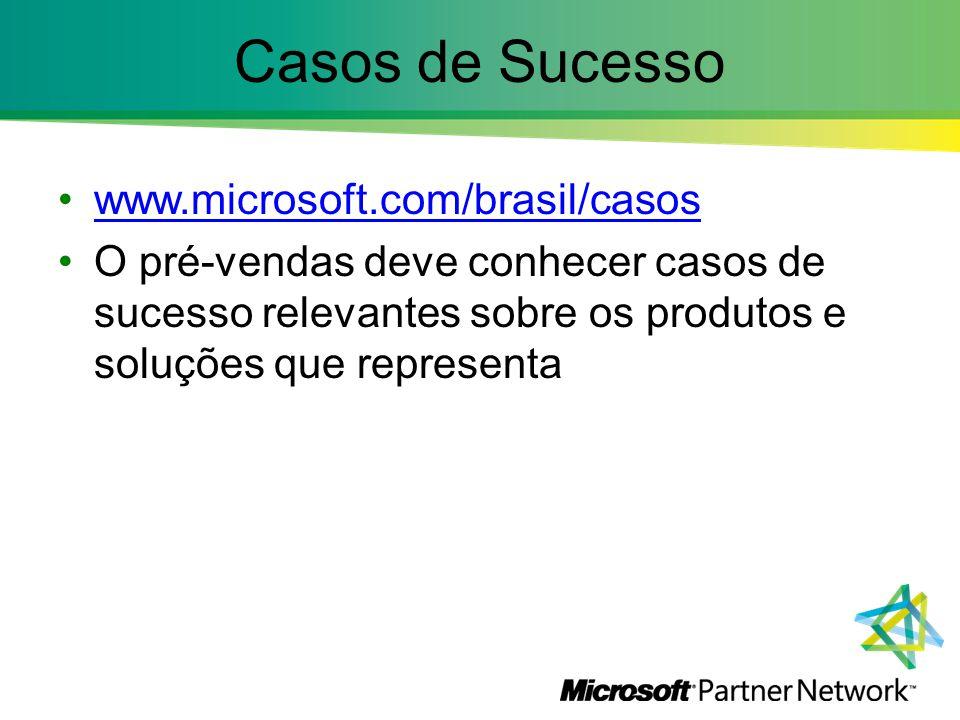 Casos de Sucesso www.microsoft.com/brasil/casos O pré-vendas deve conhecer casos de sucesso relevantes sobre os produtos e soluções que representa