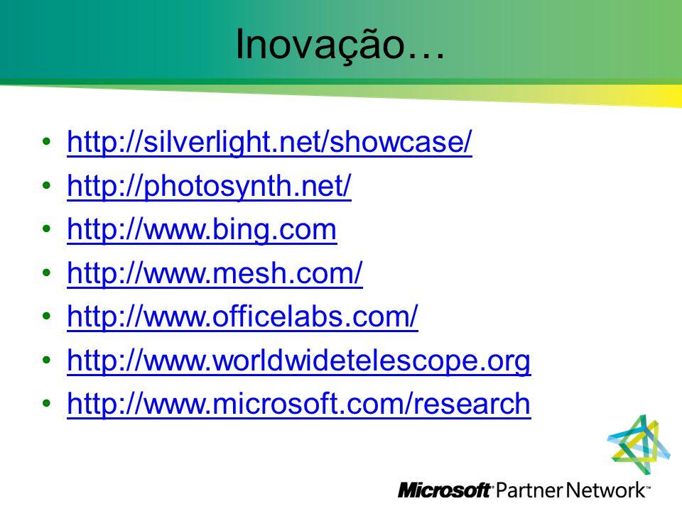 Inovação… http://silverlight.net/showcase/ http://photosynth.net/ http://www.bing.com http://www.mesh.com/ http://www.officelabs.com/ http://www.world