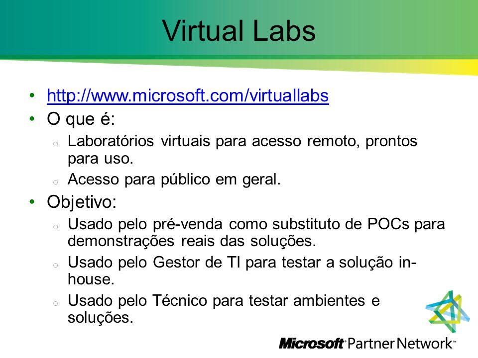 Virtual Labs http://www.microsoft.com/virtuallabs O que é: o Laboratórios virtuais para acesso remoto, prontos para uso. o Acesso para público em gera