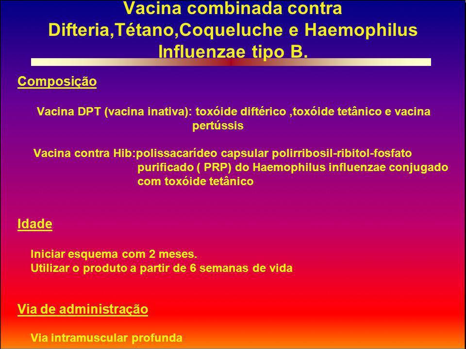Vacina combinada contra Difteria,Tétano,Coqueluche e Haemophilus Influenzae tipo B.