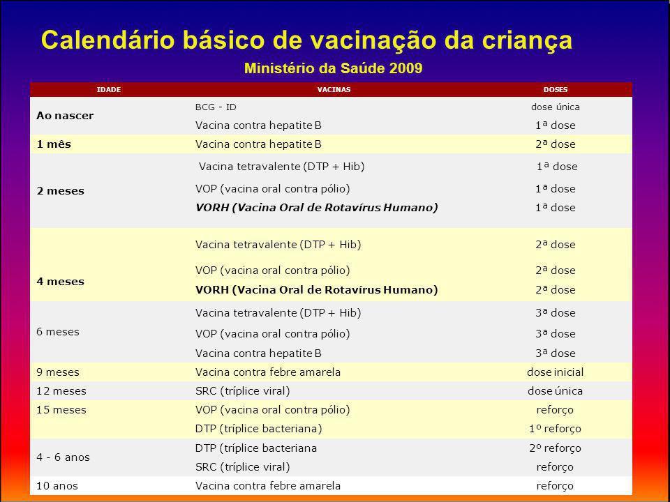 Calendários vacinais São elaborados baseando-se em: Situação epidemiológica das doenças imunopreveníveis Resposta imunológica Operacionalidade – deve ser de fácil cumprimento e compreensão