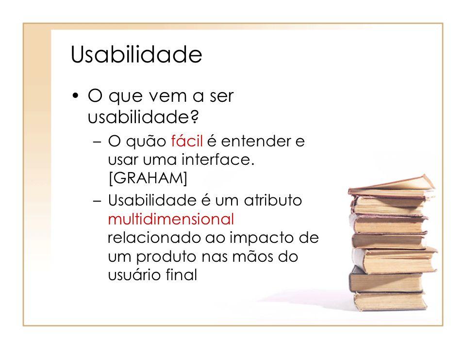 Usabilidade O que vem a ser usabilidade.–O quão fácil é entender e usar uma interface.