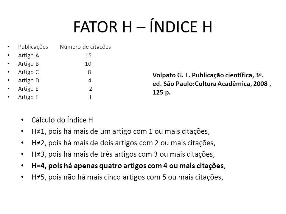 FATOR H – ÍNDICE H Publicações Número de citações Artigo A 15 Artigo B 10 Artigo C 8 Artigo D 4 Artigo E 2 Artigo F 1 Cálculo do Índice H H1, pois há mais de um artigo com 1 ou mais citações, H2, pois há mais de dois artigos com 2 ou mais citações, H3, pois há mais de três artigos com 3 ou mais citações, H=4, pois há apenas quatro artigos com 4 ou mais citações, H5, pois não há mais cinco artigos com 5 ou mais citações, Volpato G.